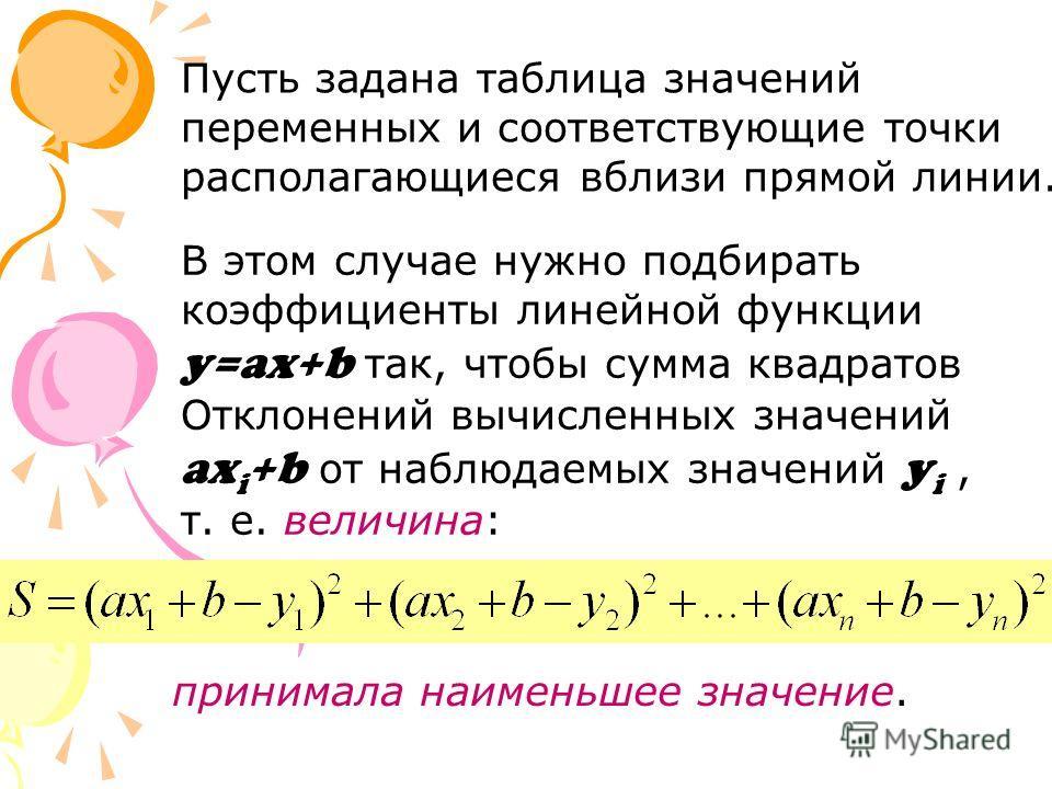 Пусть задана таблица значений переменных и соответствующие точки располагающиеся вблизи прямой линии. принимала наименьшее значение. В этом случае нужно подбирать коэффициенты линейной функции y=ax+b так, чтобы сумма квадратов Отклонений вычисленных