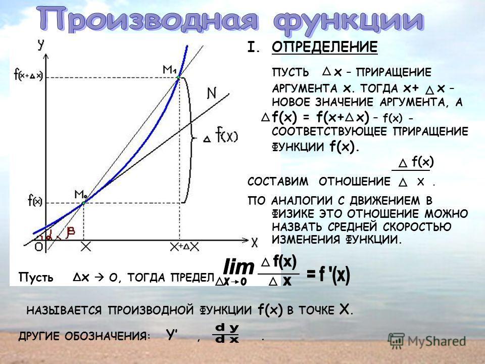 I.ОПРЕДЕЛЕНИЕ ПУСТЬ х – ПРИРАЩЕНИЕ АРГУМЕНТА х. ТОГДА х+ х – НОВОЕ ЗНАЧЕНИЕ АРГУМЕНТА, А f(х) = f(х+ х) – f(x) - СООТВЕТСТВУЮЩЕЕ ПРИРАЩЕНИЕ ФУНКЦИИ f(х). f(х) СОСТАВИМ ОТНОШЕНИЕ Х. ПО АНАЛОГИИ С ДВИЖЕНИЕМ В ФИЗИКЕ ЭТО ОТНОШЕНИЕ МОЖНО НАЗВАТЬ СРЕДНЕЙ