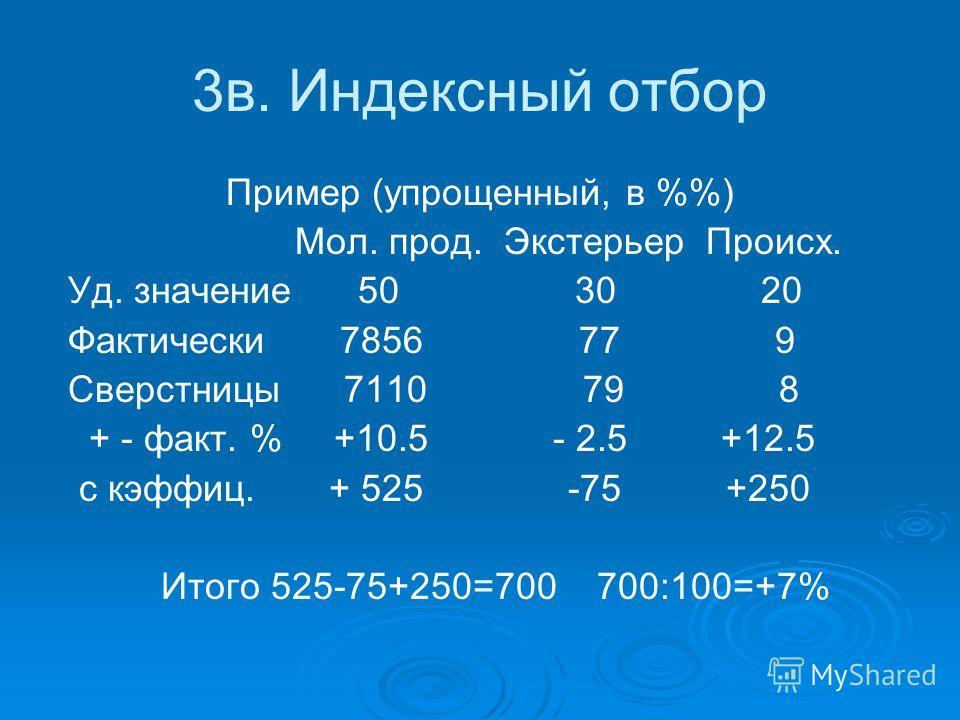 3в. Индексный отбор Пример (упрощенный, в %) Мол. прод. Экстерьер Происх. Уд. значение 50 30 20 Фактически 7856 77 9 Сверстницы 7110 79 8 + - факт. % +10.5 - 2.5 +12.5 с кэффиц. + 525 -75 +250 Итого 525-75+250=700 700:100=+7%
