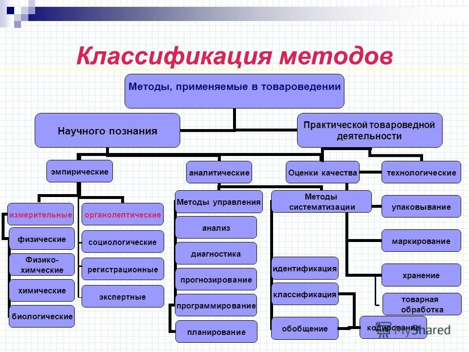 Классификация методов социологические экспертные регистрационные товарная обработка