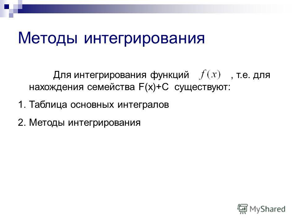 Методы интегрирования Для интегрирования функций, т.е. для нахождения семейства F(x)+C существуют: 1.Таблица основных интегралов 2.Методы интегрирования