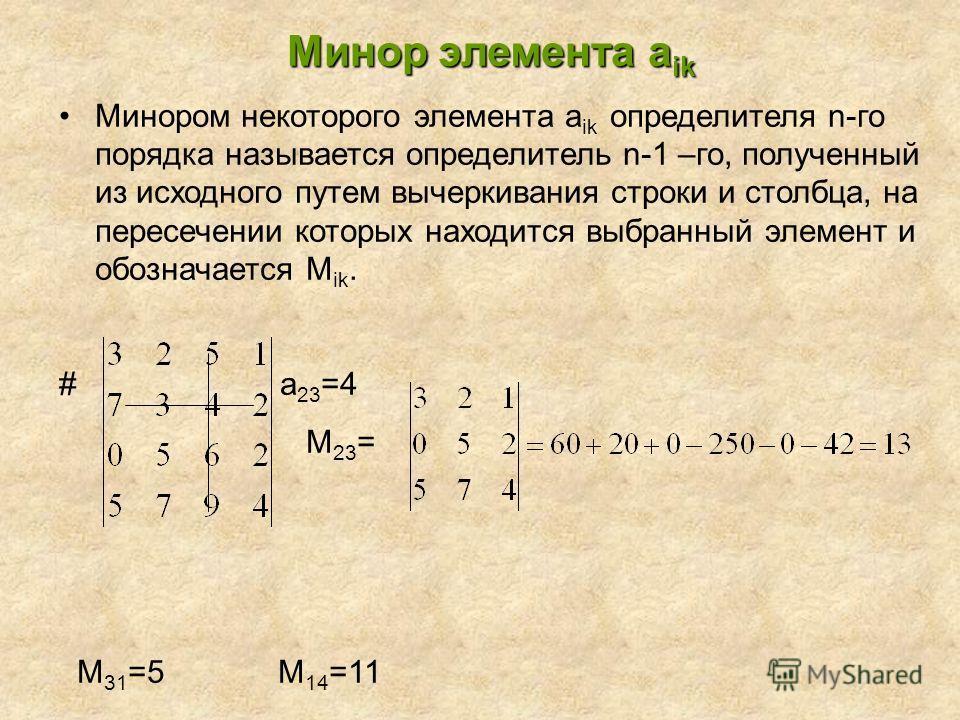 Минор элемента а ik Минором некоторого элемента a ik определителя n-го порядка называется определитель n-1 –го, полученный из исходного путем вычеркивания строки и столбца, на пересечении которых находится выбранный элемент и обозначается М ik. # a 2