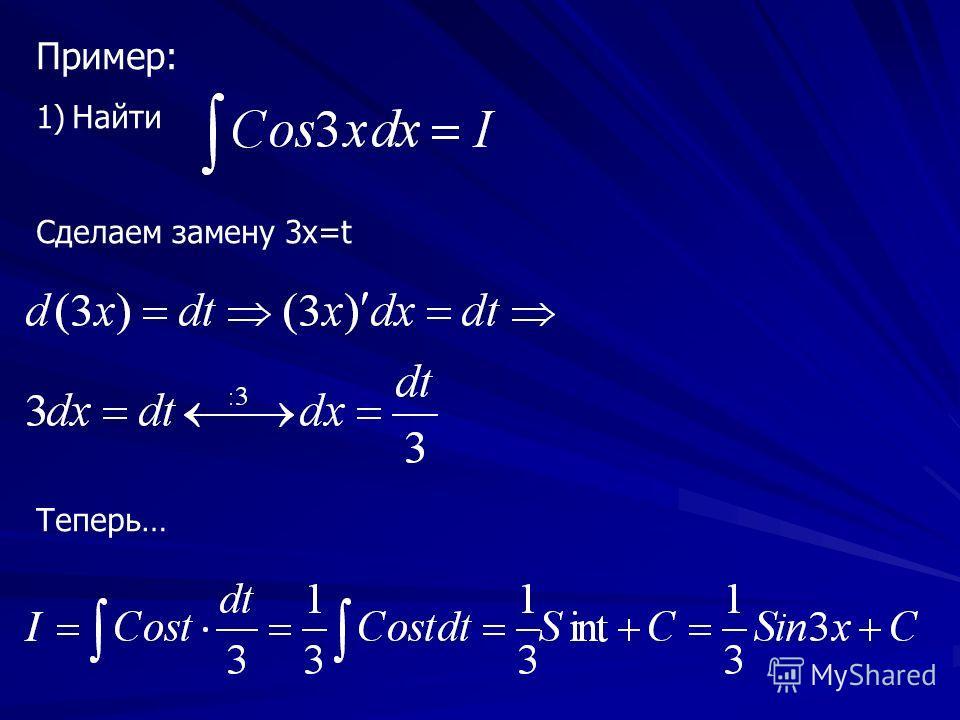 Пример: 1)Найти Сделаем замену 3х=t Теперь…