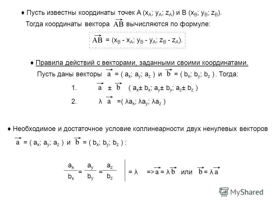 Пусть известны координаты точек A (x A ; y A ; z A ) и B (x B ; y B ; z B ). Тогда координаты векторавычисляются по формуле: = (x B - x A ; y B - y A ; z B - z A ). Правила действий с векторами, заданными своими координатами. Пусть даны векторы= ( a