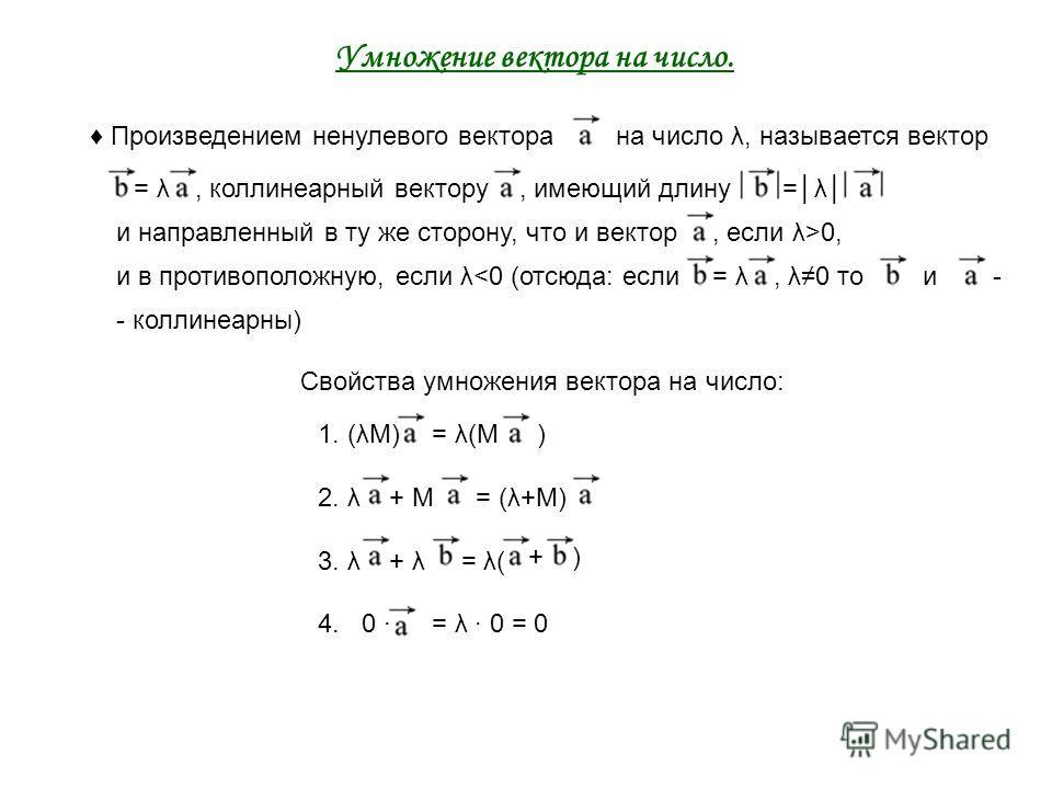 + = λ Умножение вектора на число. Произведением ненулевого векторана число λ, называется вектор = λ, коллинеарный вектору, имеющий длину=λ и направленный в ту же сторону, что и вектор, если λ>0, и в противоположную, если λ