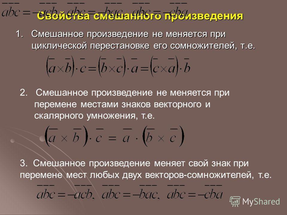 Свойства смешанного произведения 1. Смешанное произведение не меняется при циклической перестановке его сомножителей, т.е. 2. Смешанное произведение не меняется при перемене местами знаков векторного и скалярного умножения, т.е. 3. Смешанное произвед