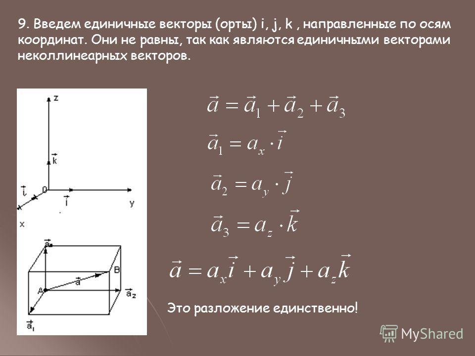 9. Введем единичные векторы (орты) i, j, k, направленные по осям координат. Они не равны, так как являются единичными векторами неколлинеарных векторов. Это разложение единственно!