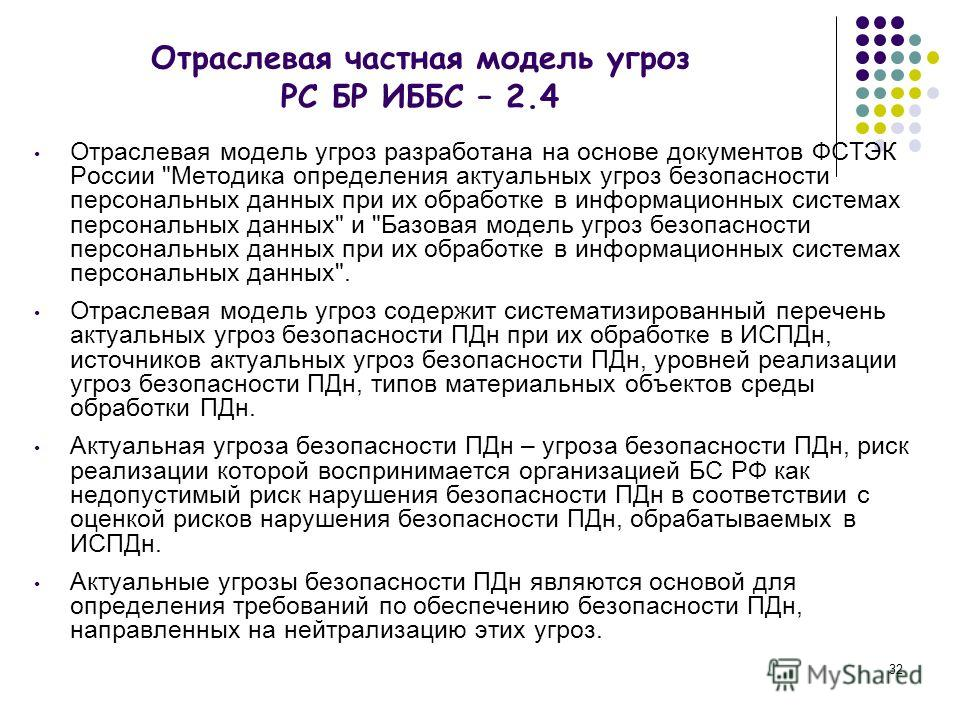 32 Отраслевая частная модель угроз РС БР ИББС – 2.4 Отраслевая модель угроз разработана на основе документов ФСТЭК России