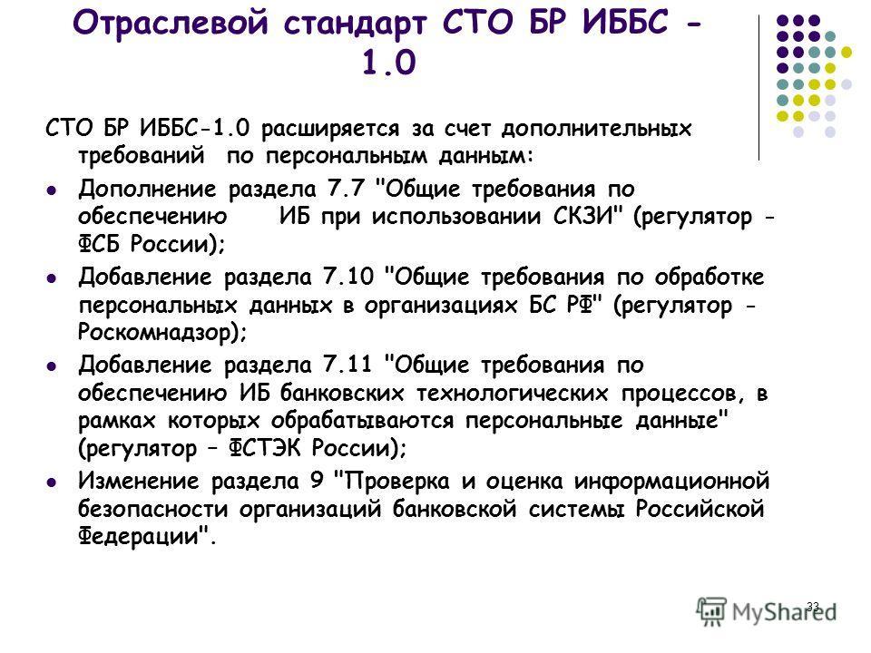 33 СТО БР ИББС-1.0 расширяется за счет дополнительных требований по персональным данным: Дополнение раздела 7.7