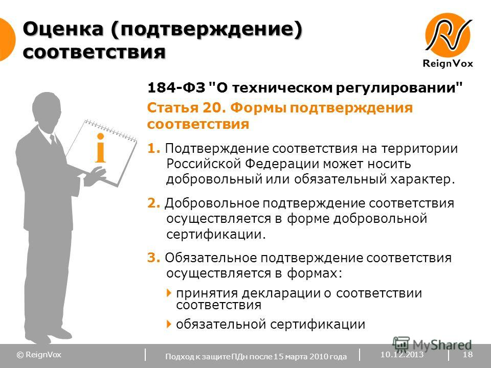 © ReignVox Оценка (подтверждение) соответствия 184-ФЗ