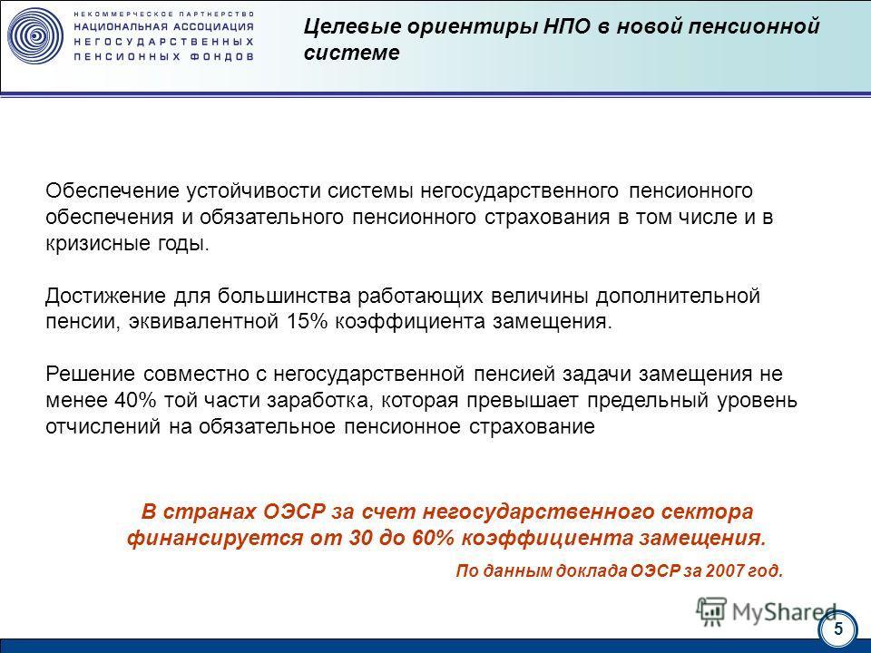 5 национальная ассоциация нгосударственных пенсионных фондов Целевые ориентиры НПО в новой пенсионной системе Обеспечение устойчивости системы негосударственного пенсионного обеспечения и обязательного пенсионного страхования в том числе и в кризисны