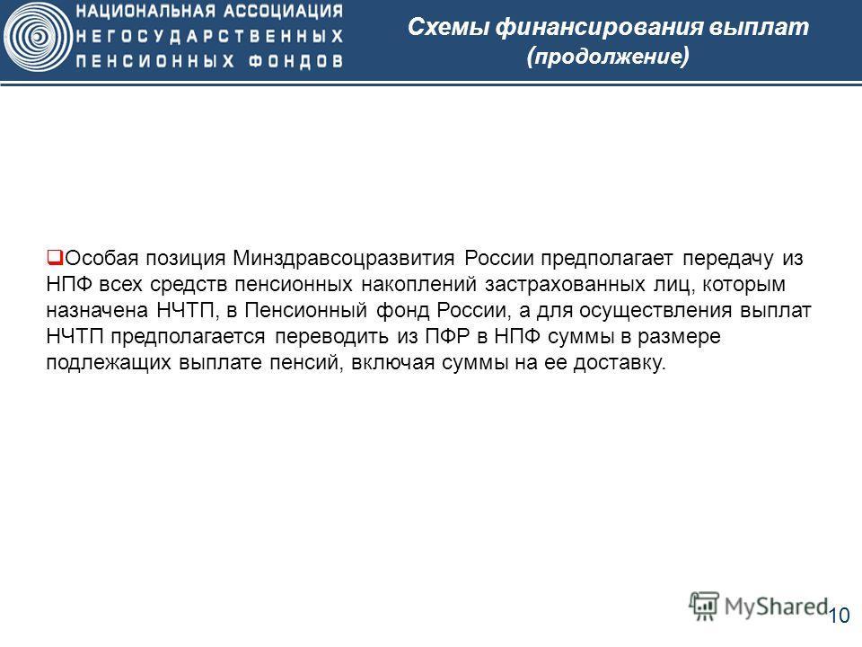 10 Схемы финансирования выплат ( продолжение ) Особая позиция Минздравсоцразвития России предполагает передачу из НПФ всех средств пенсионных накоплений застрахованных лиц, которым назначена НЧТП, в Пенсионный фонд России, а для осуществления выплат