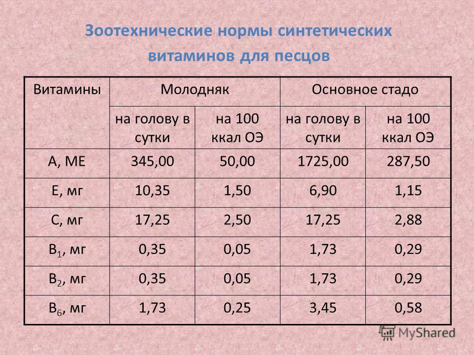 Зоотехнические нормы синтетических витаминов для песцов ВитаминыМолоднякОсновное стадо на голову в сутки на 100 ккал ОЭ на голову в сутки на 100 ккал ОЭ А, МЕ345,0050,001725,00287,50 Е, мг10,351,506,901,15 С, мг17,252,5017,252,88 В 1, мг0,350,051,730