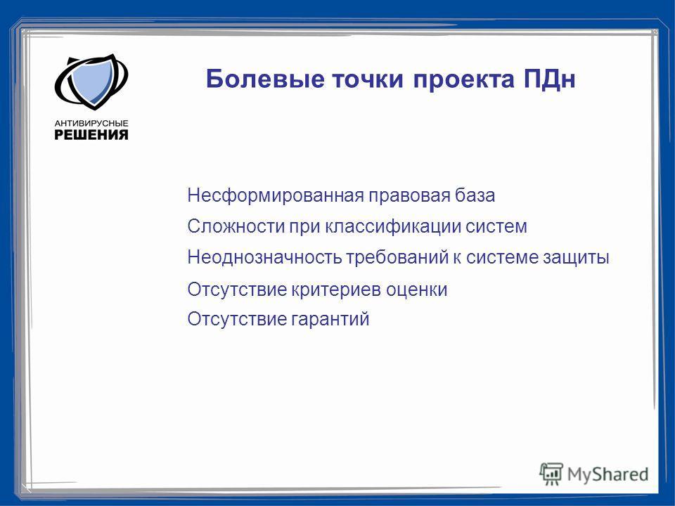 Болевые точки проекта ПДн Несформированная правовая база Сложности при классификации систем Неоднозначность требований к системе защиты Отсутствие критериев оценки Отсутствие гарантий