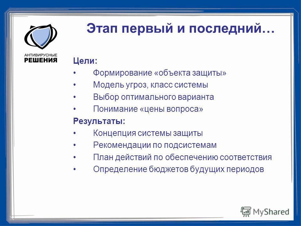 Этап первый и последний… Цели: Формирование «объекта защиты» Модель угроз, класс системы Выбор оптимального варианта Понимание «цены вопроса» Результаты: Концепция системы защиты Рекомендации по подсистемам План действий по обеспечению соответствия О