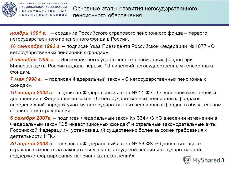 3 Основные этапы развития негосударственного пенсионного обеспечения ноябрь 1991 г. – создание Российского страхового пенсионного фонда – первого негосударственного пенсионного фонда в России. 16 сентября 1992 г. – подписан Указ Президента Российской