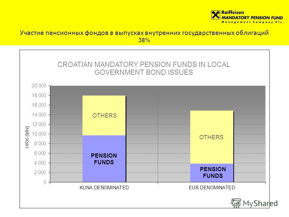 Участие пенсионных фондов в выпусках внутренних государственных облигаций 38%
