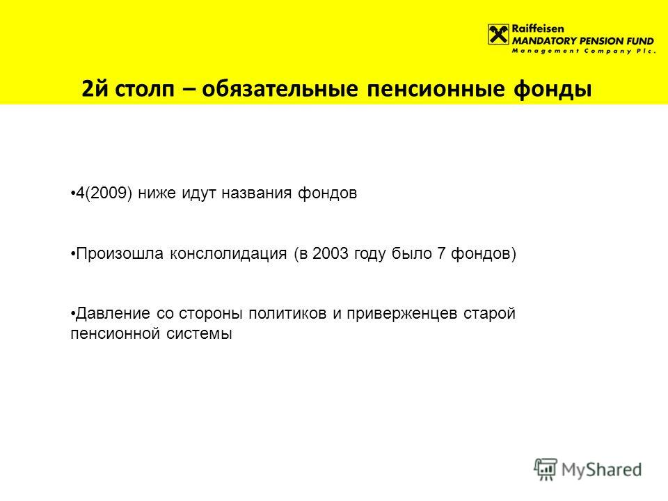2й столп – обязательные пенсионные фонды 4(2009) ниже идут названия фондов Произошла конслолидация (в 2003 году было 7 фондов) Давление со стороны политиков и приверженцев старой пенсионной системы