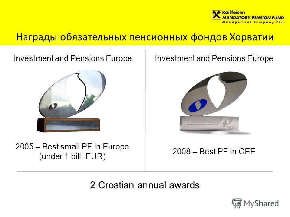Награды обязательных пенсионных фондов Хорватии Investment and Pensions Europe 2005 – Best small PF in Europe (under 1 bill. EUR) Investment and Pensions Europe 2008 – Best PF in CEE 2 Croatian annual awards