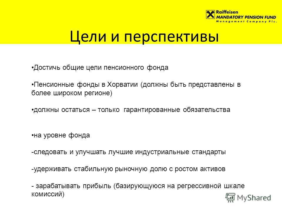 Цели и перспективы Достичь общие цели пенсионного фонда Пенсионные фонды в Хорватии (должны быть представлены в более широком регионе) должны остаться – только гарантированные обязательства на уровне фонда -следовать и улучшать лучшие индустриальные