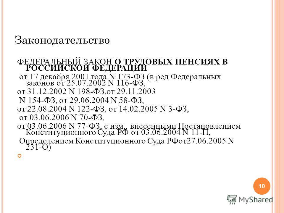 Законодательство ФЕДЕРАЛЬНЫЙ ЗАКОН О ТРУДОВЫХ ПЕНСИЯХ В РОССИЙСКОЙ ФЕДЕРАЦИИ от 17 декабря 2001 года N 173-ФЗ (в ред.Федеральных законов от 25.07.2002 N 116-ФЗ, от 31.12.2002 N 198-ФЗ,от 29.11.2003 N 154-ФЗ, от 29.06.2004 N 58-ФЗ, от 22.08.2004 N 122