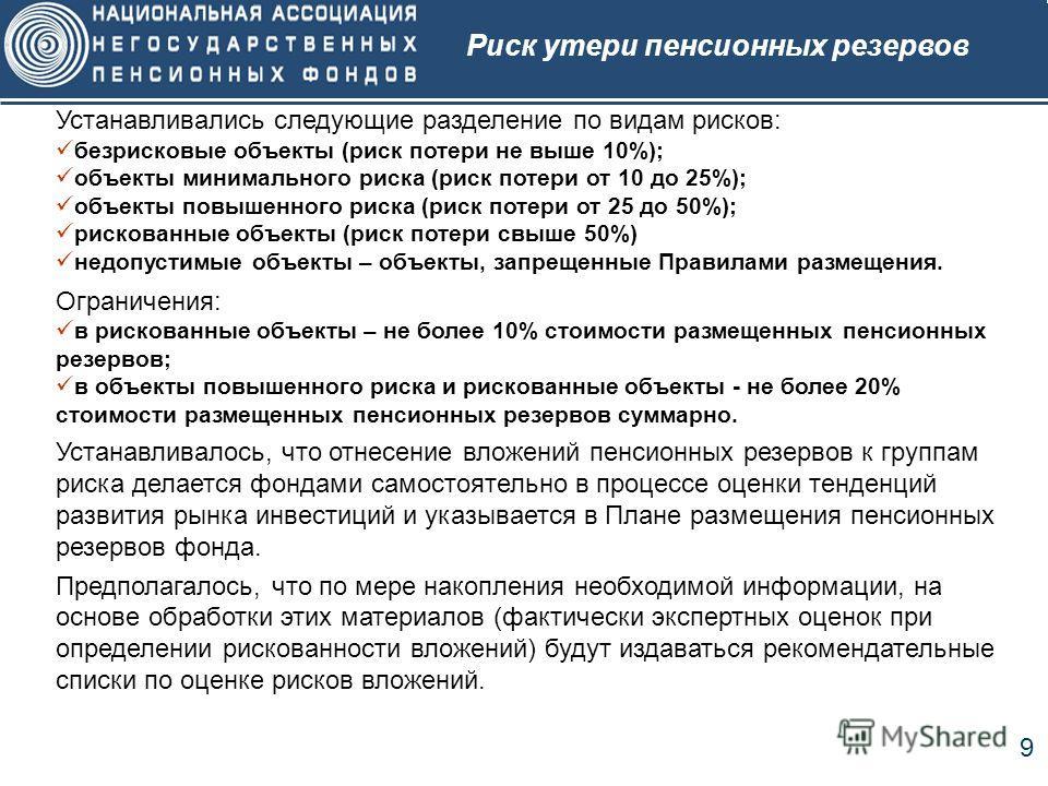 9 Устанавливались следующие разделение по видам рисков: безрисковые объекты (риск потери не выше 10%); объекты минимального риска (риск потери от 10 до 25%); объекты повышенного риска (риск потери от 25 до 50%); рискованные объекты (риск потери свыше