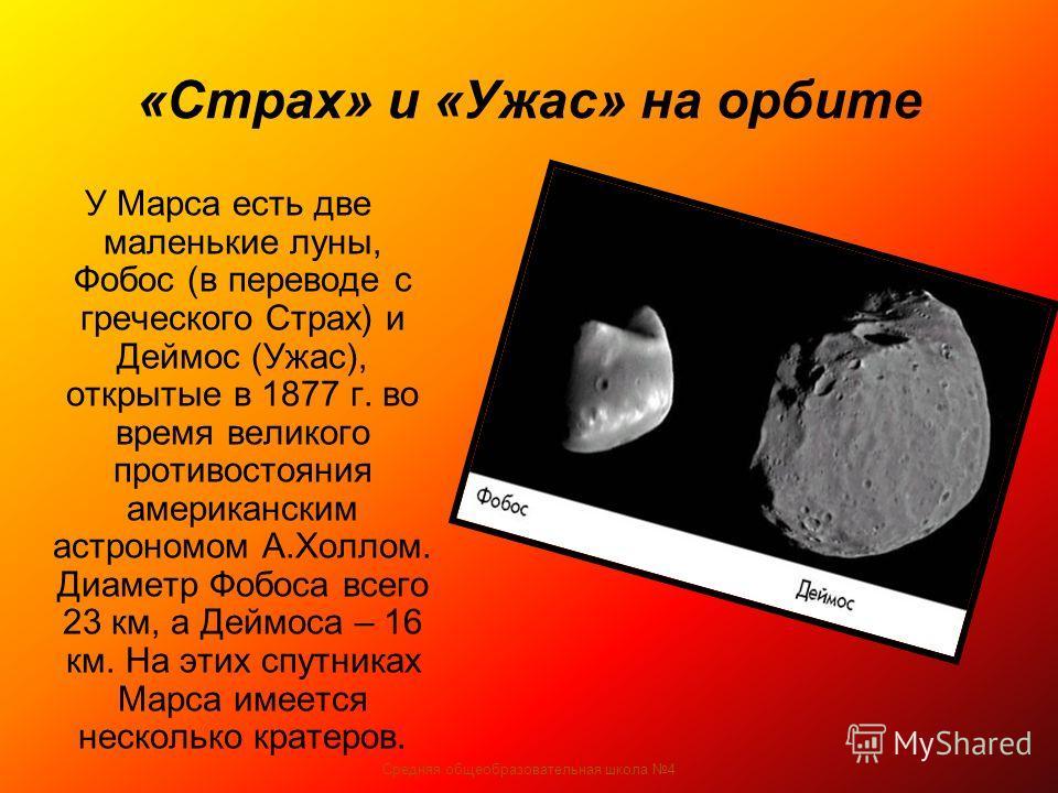 Средняя общеобразовательная школа 4 «Страх» и «Ужас» на орбите У Марса есть две маленькие луны, Фобос (в переводе с греческого Страх) и Деймос (Ужас), открытые в 1877 г. во время великого противостояния американским астрономом А.Холлом. Диаметр Фобос