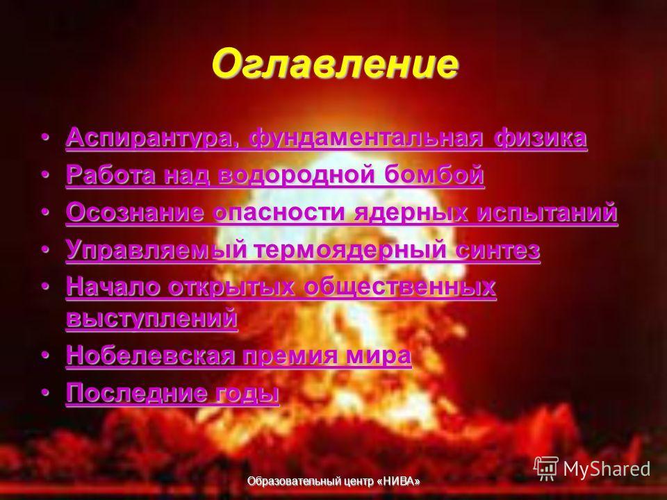 Образовательный центр «НИВА» Учёный физик Сахаров Курин Николай