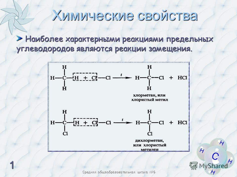 Наиболее характерными реакциями предельных углеводородов являются реакции замещения. Наиболее характерными реакциями предельных углеводородов являются реакции замещения. Химические свойства 1111