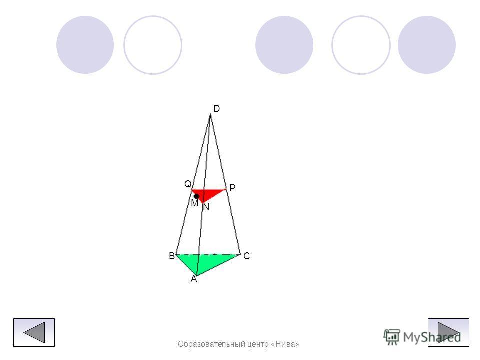 Образовательный центр «Нива» Решение : Так как секущая плоскость параллельна плоскости ABC, то она параллельна прямым AB, BC и CA. Следовательно, секущая плоскость пересекает боковые грани тетраэдра по прямым, параллельным сторонам треугольника ABC.