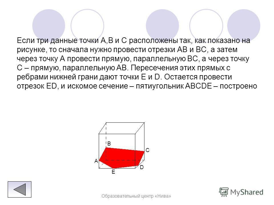 Образовательный центр «Нива» Решение : Построение искомого сечения зависит от того, на каких ребрах параллелепипеда лежат точки A, B и C. В самом простом случае, когда эти три точки лежат на ребрах, выходящих из одной вершины, нужно провести отрезки