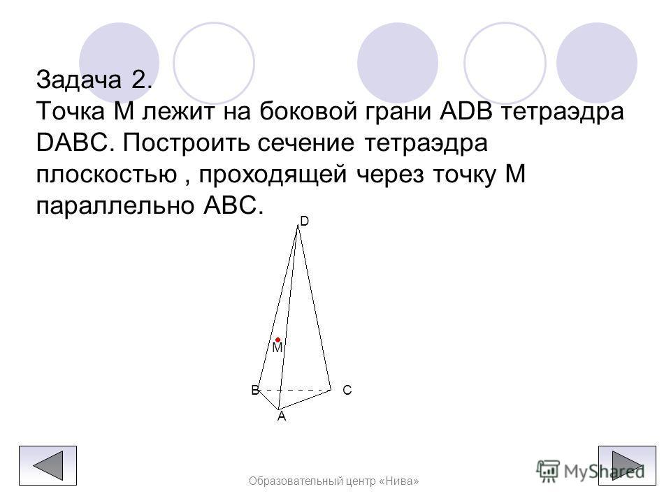 Образовательный центр «Нива» Если прямые NP и BC параллельны, то прямая NP параллельна грани ABC, поэтому плоскость MNP пересекает эту грань по прямой ME, параллельной прямой NP. Точка Q, как и в первом случае, есть точка пересечения ребра AC с прямо