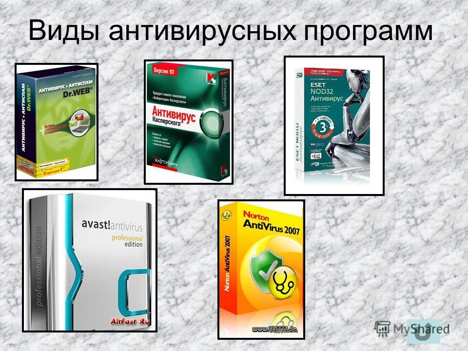Антивирусная программа Антивирус программа для обнаружения компьютерных вирусов и лечения инфицированных файлов, а также для профилактики предотвращения заражения файлов или операционной системы вредоносным кодом (например, с помощью вакцинации