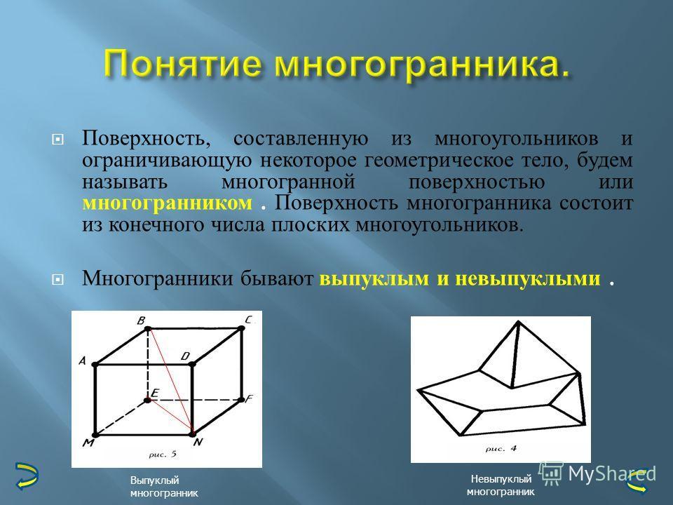 Поверхность, составленную из многоугольников и ограничивающую некоторое геометрическое тело, будем называть многогранной поверхностью или многогранником. Поверхность многогранника состоит из конечного числа плоских многоугольников. Многогранники быва