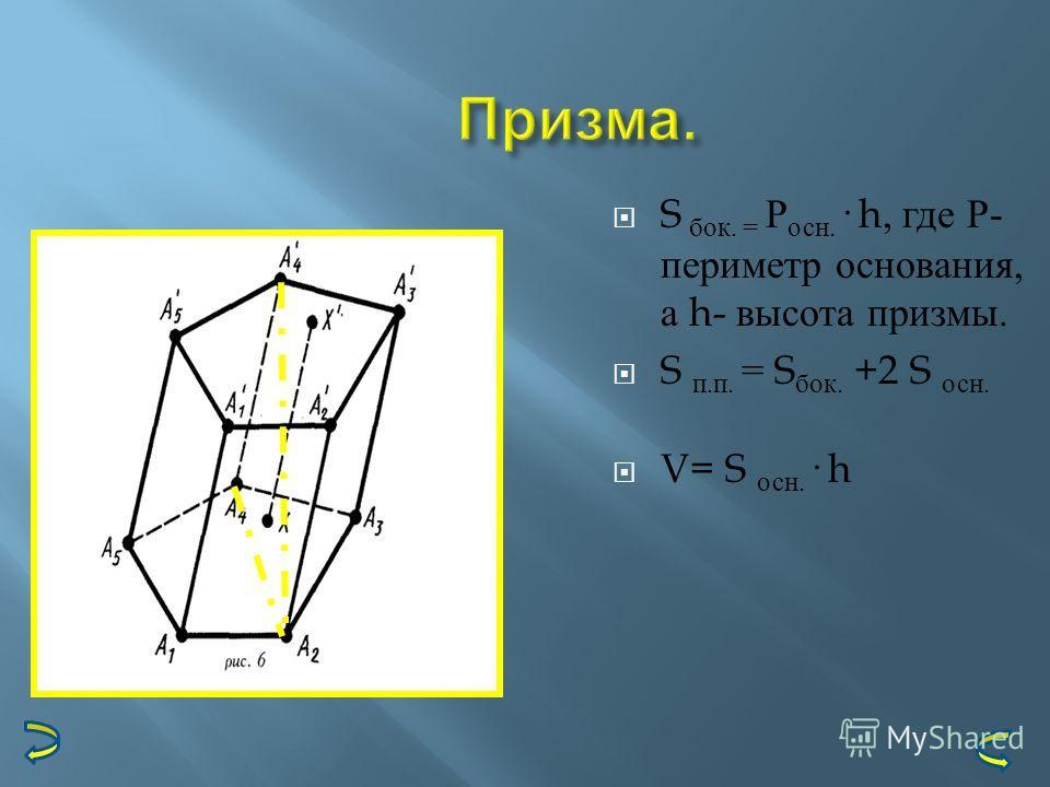 Призма. S бок. = Р осн. · h, где Р - периметр основания, а h- высота призмы. S п. п. = S бок. +2 S осн. V= S осн. · h