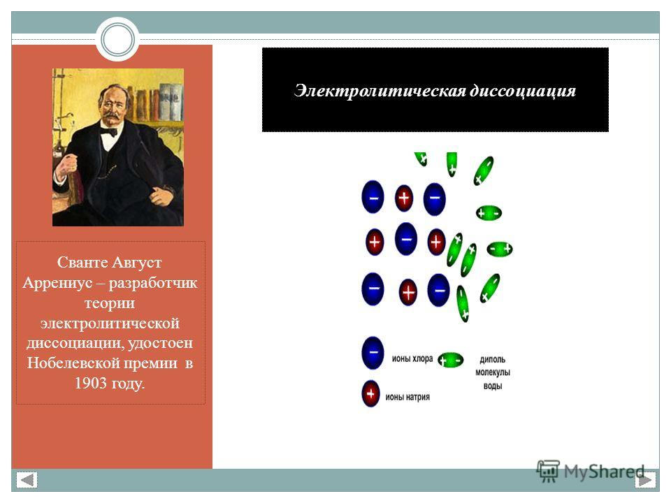 Электролитическая диссоциация Сванте Август Аррениус – разработчик теории электролитической диссоциации, удостоен Нобелевской премии в 1903 году.