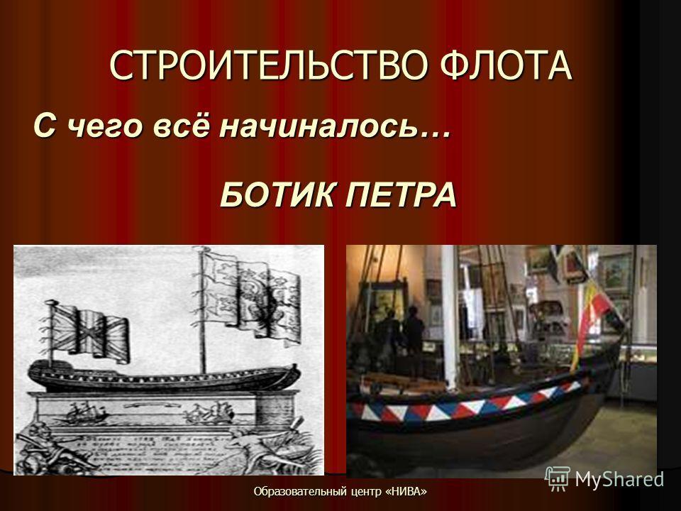 Образовательный центр «НИВА» СТРОИТЕЛЬСТВО ФЛОТА С чего всё начиналось… БОТИК ПЕТРА