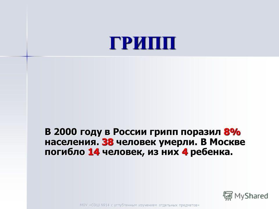 МОУ «СОШ 14 с углубленным изучением отдельных предметов» ГРИПП ГРИПП В 2000 году в России грипп поразил 8% населения. 38 человек умерли. В Москве погибло 14 человек, из них 4 ребенка.