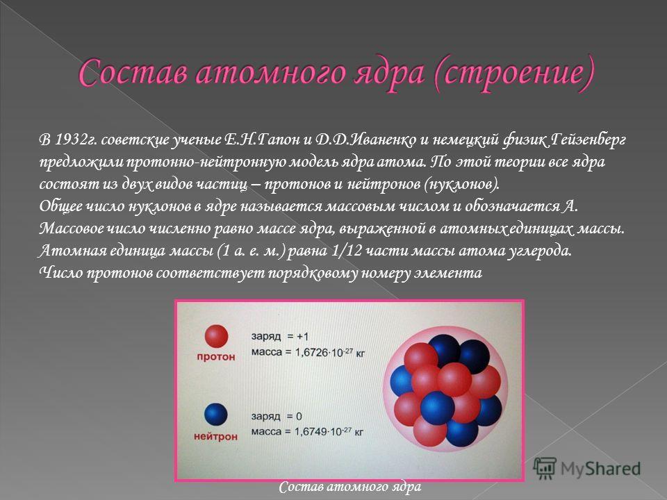 В 1932г. советские ученые Е.Н.Гапон и Д.Д.Иваненко и немецкий физик Гейзенберг предложили протонно-нейтронную модель ядра атома. По этой теории все ядра состоят из двух видов частиц – протонов и нейтронов (нуклонов). Общее число нуклонов в ядре назыв