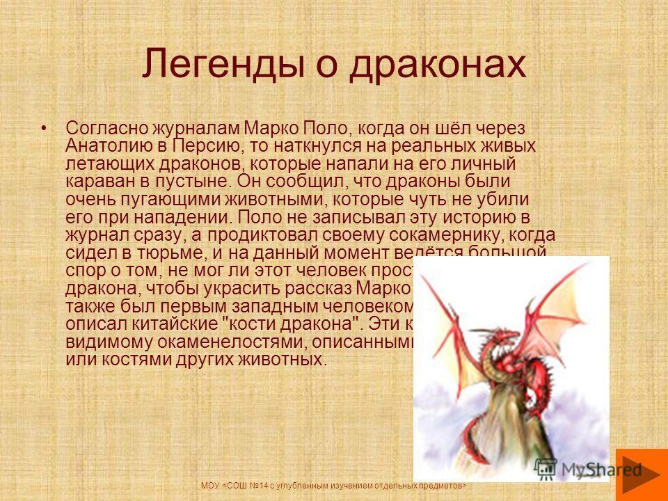 МОУ Легенды о драконах Согласно журналам Марко Поло, когда он шёл через Анатолию в Персию, то наткнулся на реальных живых летающих драконов, которые напали на его личный караван в пустыне. Он сообщил, что драконы были очень пугающими животными, котор