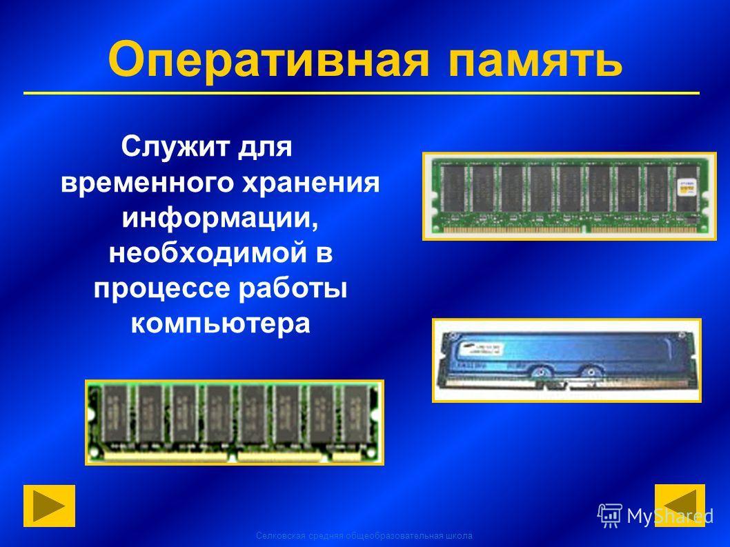 Селковская средняя общеобразовательная школа Оперативная память Служит для временного хранения информации, необходимой в процессе работы компьютера