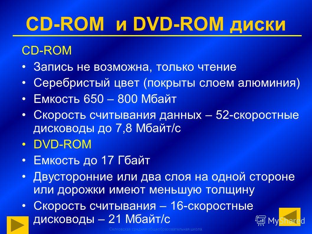 Селковская средняя общеобразовательная школа CD-ROM и DVD-ROM диски CD-ROM Запись не возможна, только чтение Серебристый цвет (покрыты слоем алюминия) Емкость 650 – 800 Мбайт Скорость считывания данных – 52-скоростные дисководы до 7,8 Мбайт/с DVD-ROM