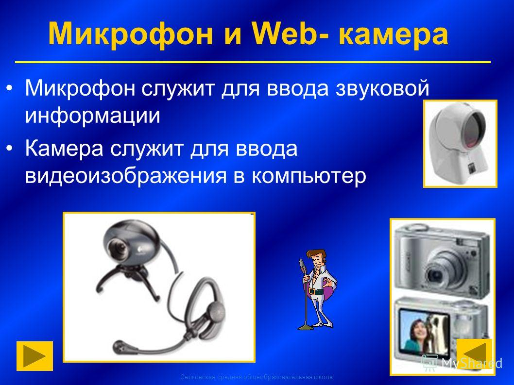 Селковская средняя общеобразовательная школа Микрофон и Web- камера Микрофон служит для ввода звуковой информации Камера служит для ввода видеоизображения в компьютер
