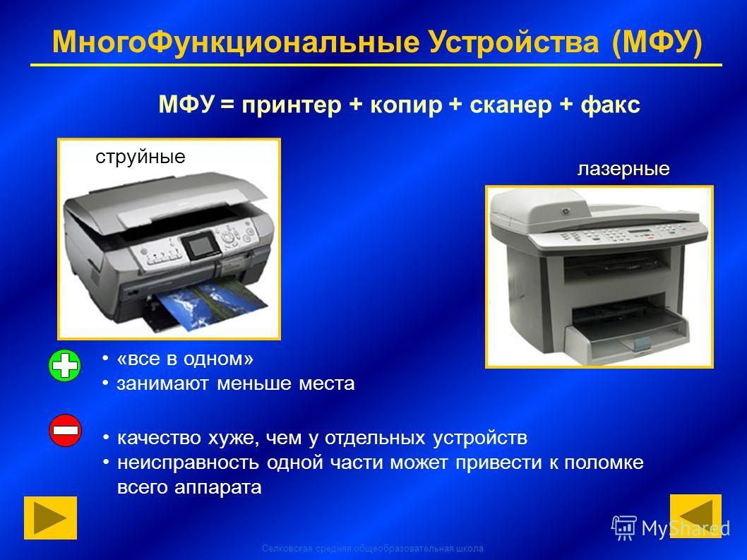 Селковская средняя общеобразовательная школа МногоФункциональные Устройства (МФУ) МФУ = принтер + копир + сканер + факс струйные лазерные «все в одном» занимают меньше места качество хуже, чем у отдельных устройств неисправность одной части может при
