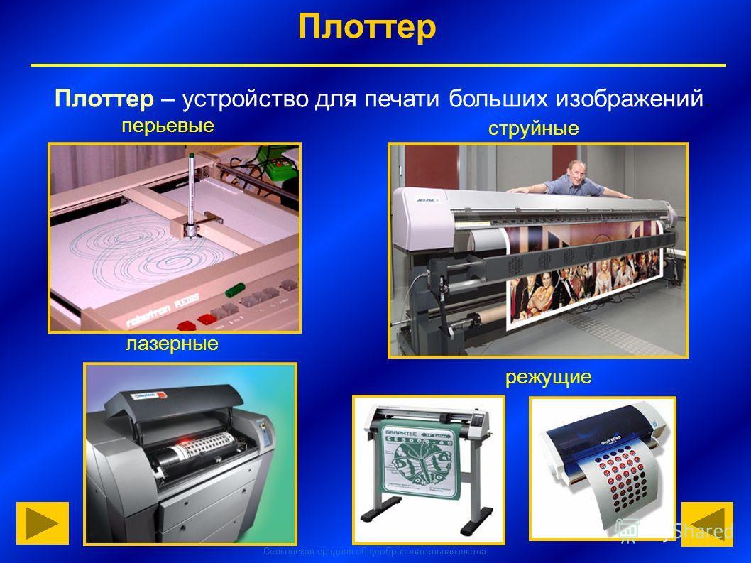 Селковская средняя общеобразовательная школа Плоттер Плоттер – устройство для печати больших изображений. перьевые струйные лазерные режущие