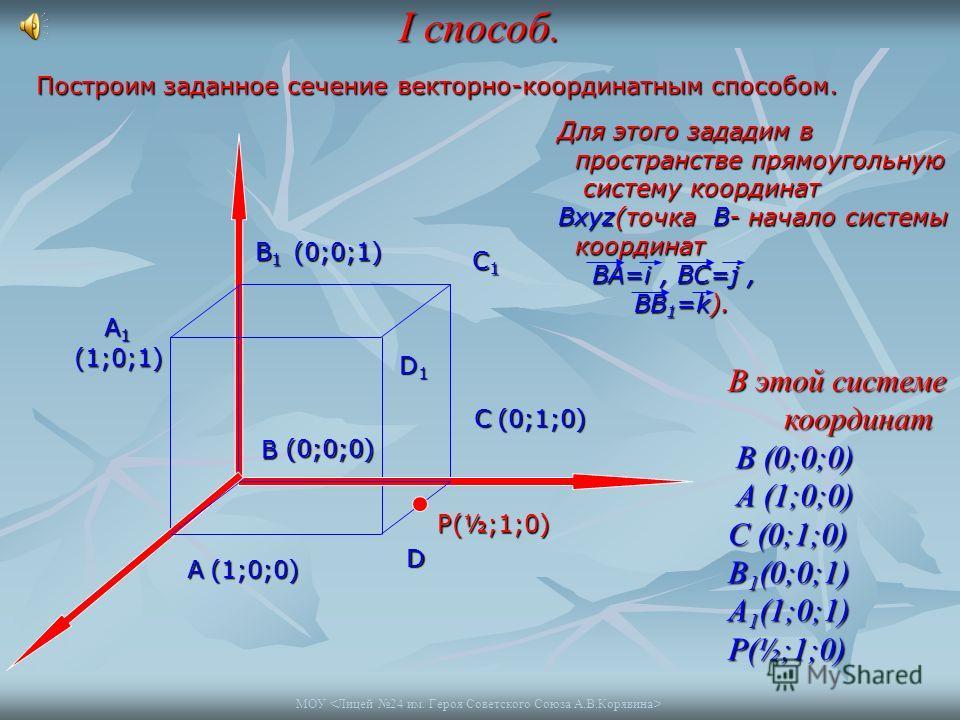 I способ. А1 В1 С1 D1 D C P A B Построим заданное сечение векторно-координатным способом. Для этого зададим в пространстве прямоугольную пространстве прямоугольную систему координат Вxyz(точка В- начало системы систему координат Вxyz(точка В- начало