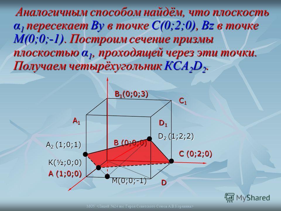МОУ Аналогичным способом найдём, что плоскость α 1 пересекает Вy в точке С(0;2;0), Bz в точке M(0;0;-1). Построим сечение призмы плоскостью α 1, проходящей через эти точки. Получаем четырёхугольник КСА 2 D 2. Аналогичным способом найдём, что плоскост