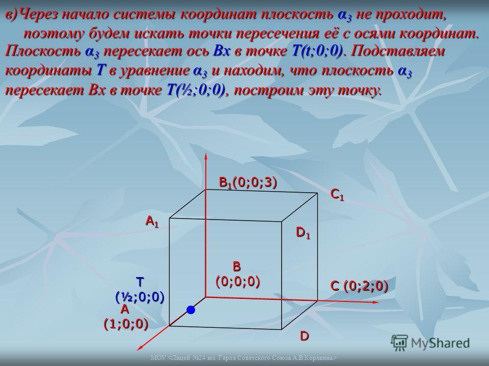 МОУ в)Через начало системы координат плоскость α 3 не проходит, поэтому будем искать точки пересечения её с осями координат. A1A1A1A1 B 1 (0;0;3) C1C1C1C1 D1D1D1D1 A(1;0;0) B(0;0;0) C (0;2;0) D Т (½;0;0) Плоскость α 3 пересекает ось Bх в точке Т(t;0;