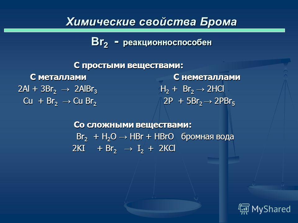 Химические свойства Брома Br 2 - реакционноспособен С простыми веществами: С металлами С неметаллами Al + Br 2 H 2 + Br 2 Cu + Br 2 P + Br 2 Со сложными веществами: Br 2 + H 2 O KI + Br 2 Реакция