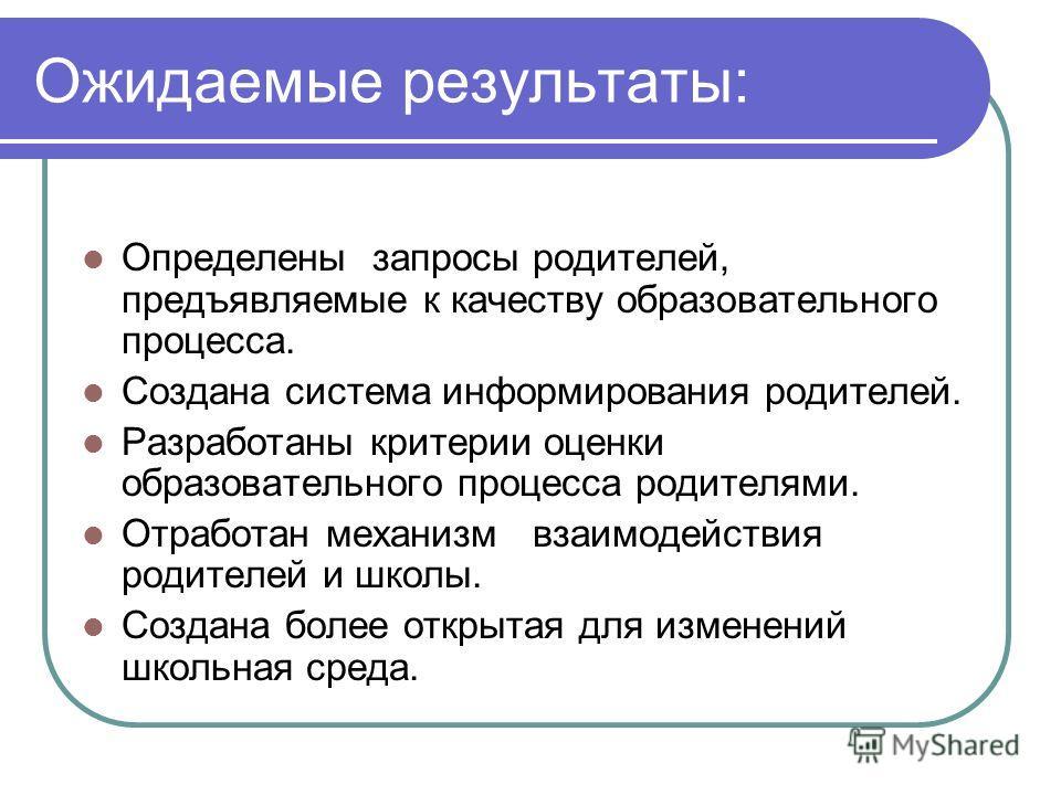 Ожидаемые результаты: Определены запросы родителей, предъявляемые к качеству образовательного процесса. Создана система информирования родителей. Разработаны критерии оценки образовательного процесса родителями. Отработан механизм взаимодействия роди